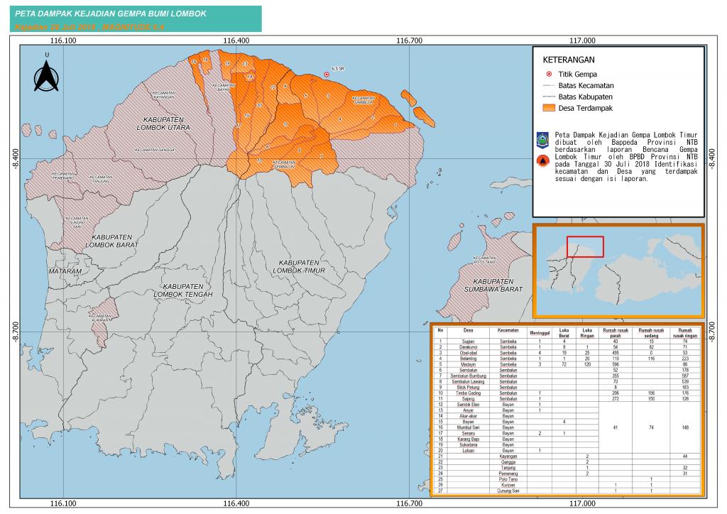 Peta Dampak Gempa Bumi Lotim_30Juli2018